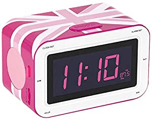 bigben rr30 pink union jack radio alarm clock electronics. Black Bedroom Furniture Sets. Home Design Ideas