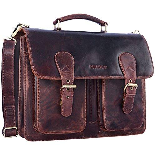STILORD 'Karl' Aktentasche Herren Lehrertasche Bürotasche Laptoptasche Umhängetasche XL Businesstasche Vintage groß aus echtem Leder, Fa...