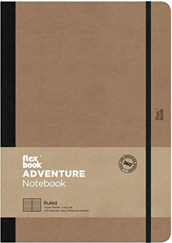Flex Book Adventure–taccuino formato 17x 24cm Borsa, 192pagine a righe, Cammello, Beige
