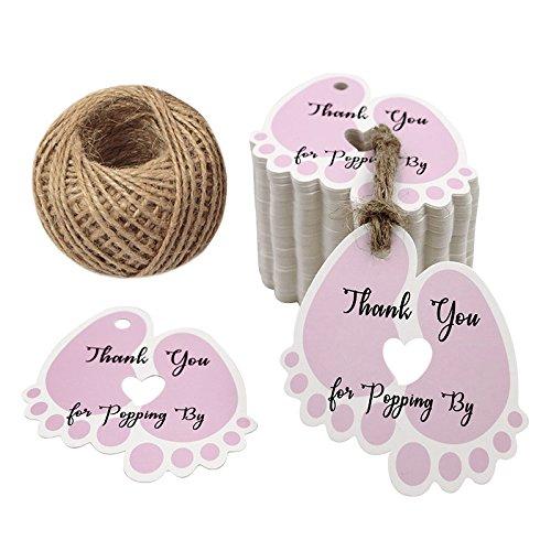 Etiketten Tags, 5.5 CM * 6 CM Geschenkanhänger Anhänger Etiketten mit 30 M Jute-Schnur for Babydusche (Rosa) ()