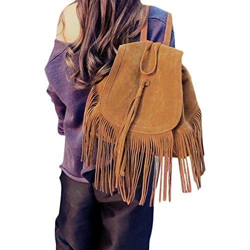Moda womens Ladies ragazze nappe borsa a tracolla da viaggio zaino scuola borsa-Satchel Zaino Spalle Borsa Frizione Schoolbag, Brown (marrone) - zsl-123