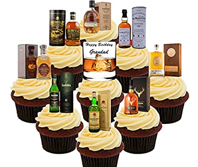 Happy Birthday Grandad, Whisky Lover Party Pack, Edible Cake Decorations - Stand-up Wafer Cupcake Toppers