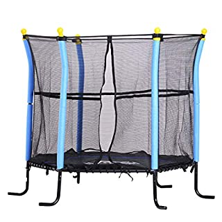 HOMCOM Trampolin für Kinder Gartentrampolin mit Sicherheitsnetz Randabdeckung Gummiseil gepolstert Stahl Blau Ø155 cm bis 60 kg