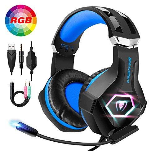 FishOaky PS4 Headset, PC Gaming Headset für Xbox One, 4 LED Licht Gaming Kopfhörer mit Mikrofon, 7.1 Surround Sound Noise Cancelling und 3,5 mm Y Audio Splitter Lautstärkeregler für Laptop Smartphone