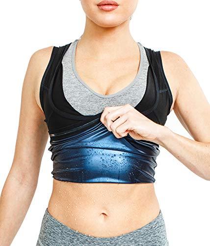 NOVECASA Sauna Weste Frau Premium-Polymer Shapewear Muskelshirt Kostüme für Fitness Schweiß Ausbildung (2XL/3XL(Taille (Kostüm Sauna)