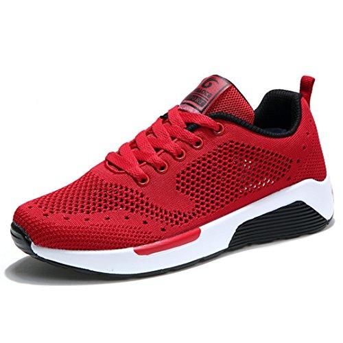 Damen Sneakers Mesh-oberfläche Atmungsaktiv Turnschuhe Flache Leichtgewicht Weich Bequeme Freizeitschuhe Rot