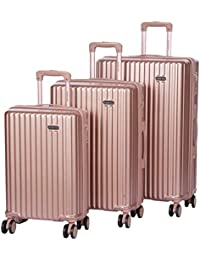 ROMEING Genoa Polycarbonate Hard-Sided Luggage Set of 3 Trolley Bags (Rosegold, Silver, WineRed) (55, 65 & 75 cm)