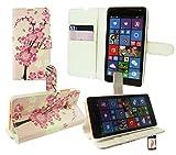Emartbuy® Microsoft Lumia 535 / Lumia 535 Dual Sim Premium PU Cuero Funda Wallet Soporte Sobremesa Carcasa Case Cover Alta Calidad Rosa Blossom con Tarjeta de Crédito Slots