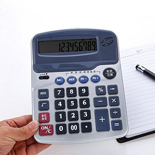GJJ Oriental Spirit Voice Calculator - 12-Bit-Großanzeige-Multifunktionsrechner - Büroarithmetikzubehör,Silber,A