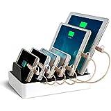 NEXGADGET Base de Carga 6 Puertos USB Desmontable 40W / 2.4A Max para Smartphone, Tableta, etc. (F 6 Puertos)