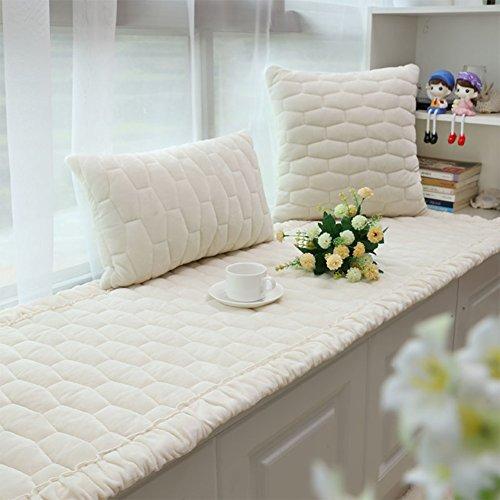 Jiaqi finestra a bovindo cuscino non slip,addensare moderna copridivano,breve peluche bay finestra pad universal lavabile in lavatrice-bianca 90x180cm(35x71inch)
