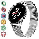 Bluetooth Smartwatch en Color de Alta definición, IP68 Sumergible Reloj Deportivo con Monitoreo de la Frecuencia Cardiaca Sincron de info Pulsera Inteligente Compatible con iOS y Android, SN58 Plata