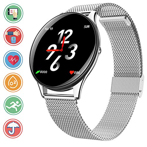 Bluetooth Smartwatch con Fitness Tracker - IP68 impermeabile Smart Bracciale con Calorie Heart Rate Sleep Monitor Blood Pressure Ossigeno Pedometro Sport Wristband Info Sync per Android e iOS,Argento