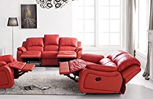 Voll-Leder Couch Sofa Garnitur Relaxsessel Fernsehsessel