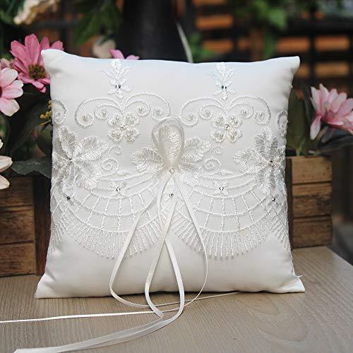 Beige Amosfun Bague Mariage Bague Oreiller Oreiller Dentelle Cristal Rose Bague Coeur De Mariage Bo/îte Anneau Porte Accessoires De Mariage