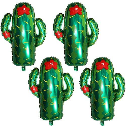 Meowoo gonfiabile alluminio palloncino verde cactus,feste tropicali,tema hawaii aloha,per hawaii party luau party compleanni festa, matrimoni decorazione,palloncini natale decorazioni,73x63cm (4pcs)