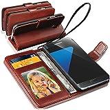 SAMSUNG GALAXY S7 EDGE - GBOS® cuir véritable Rich réel stand Wallet Flip Cover / Qualité Slip Pouch / Doux Bag Phone (spécialement fabriqués - Qualité Premium) Antique Étui en cuir ( Brown )
