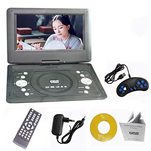 Tragbarer 14-Zoll-DVD-Player, großformatiger hochauflösender Bildschirm mit Zwei Akkus Lange Lebensdauer direktes Wiedergabeformat AVI/RMVB/SVCD/CVD, Unterstützung für USB- und SD-Karten (14-zoll-dvd-player)