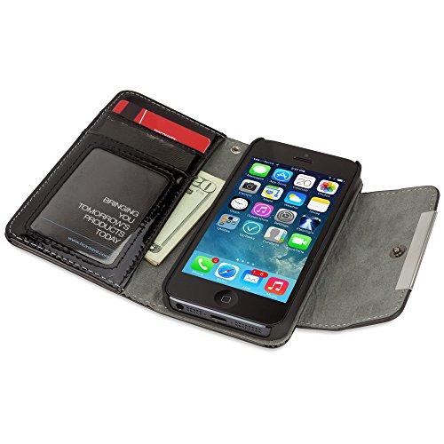 Coque Iphone se, BoxWave® [Designio brevet d'embrayage en cuir avec chargeur Porte-clés Bonus] brevet italien en cuir bracelet W/SE, Portefeuille pour Apple iPhone 5S, 5-nero Noir