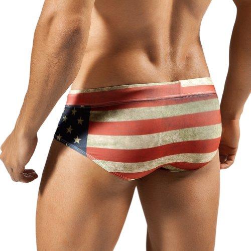 Clever Moda Flag Brief Badehosen für Herren. Mehrfarbig