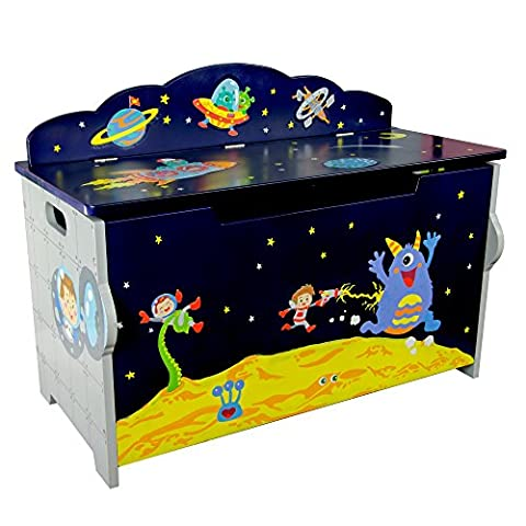 Fantasy Fields by Teamson Outer Space Large Wooden Storage Kids Toy Box Chest TD-12219A