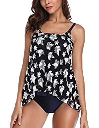 AMOMA Womens Two Pieces Stripe Tankini Swimdress with Shorts Wide Straps Swimsuit Padded Swimwear