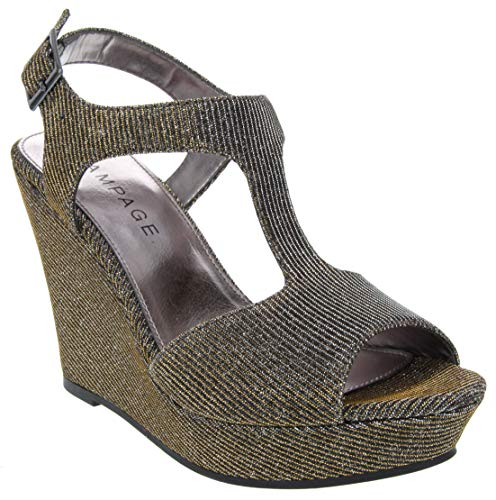Rampage Damen Candelas Platform Ankle Strap Dress Wedge Sandal, Antique Bronze Glitter Mesh, 36 EU Ankle Strap Platform Wedge