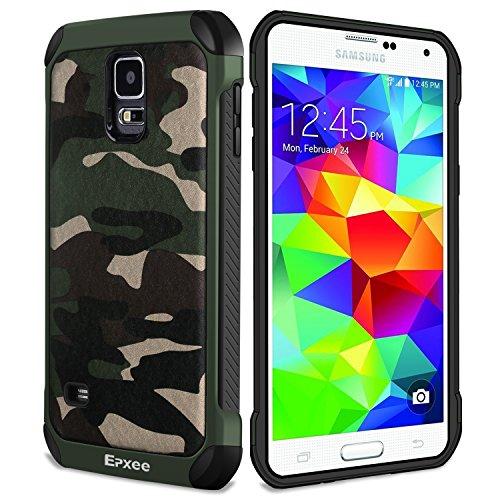 Epxee Funda Samsung Galaxy S5, Silicona [Shock-Absorción] Case Carcasa para Samsung Galaxy S5 (Camuflado-001)