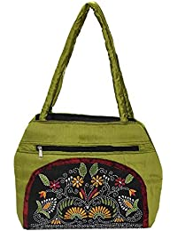 Ladies Two Section Cotton Silk Shoulder Bag With Black Kantha Patch