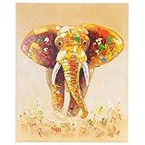 Ölgemälde Elefant, 100% handgemaltes Wandbild Gemälde XL, 100x80cm