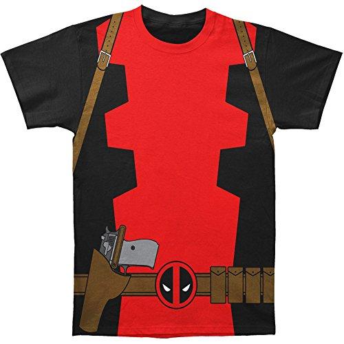 Marvel Herren Deadpool Classic Kostüm Anzug Spannbettlaken Baumwolle T Shirt Gr. XXL, schwarz (Anti Hero Kostüme)