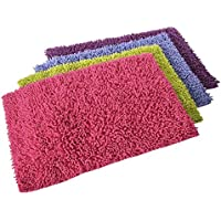 UNIMASA Alfombra baño shaggy 4/c 100% algodón 70 x 50 cm entre 3 cm y 3,2 cm de pelo, 1700g/m2 (Verde)