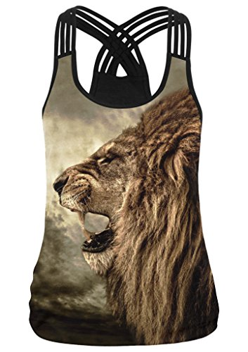 Pretty321 Women Girl Cute 3D Sexy Camis Shirt Slim Fit Tank Tops Vest Collection Lion Side Face Teeth Black