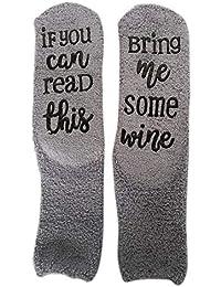 Umiwe Calcetines de vino de lujo If You Can Read This, Bring Me Some Wine Regalo Novedad Magdalena Embalaje Divertido Accesorio Térmicos…