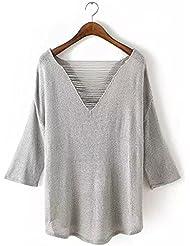 Ropa nueva chaqueta frente y espalda con cuello en v espiga punto camisa de las mujeres