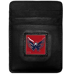 NHL Washington Capitals Genuine Leather Money Clip/Cardholder Wallet