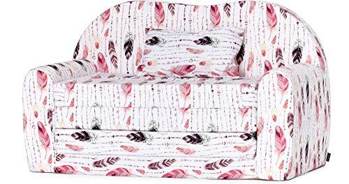 Ladeheid Kindersofa Kindercouch Bettfunktion LATE1004 (Rosa/Blätter, 170 x 100 x 60 cm)