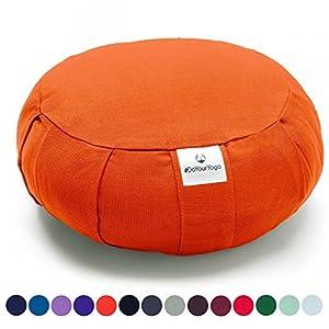 Coussin Zafu »Moogli« / Coussin de méditation de yoga classique ou coussin de yoga / 100 % coton / 35 cm x 15 cm / Disponible dans de nombreuses couleurs magnifiques / Orange Sanguine