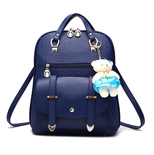 Keshi Pu neuer Stil Schulrucksäcke/Rucksack Damen/Mädchen Vintage Schule Rucksäcke mit Moderner Streifen für Teens Jungen Studenten Tiefblau