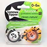 Tommee Tippee Closer To Nature: 2 x Sucette 0-6m (Panda / Tigre)