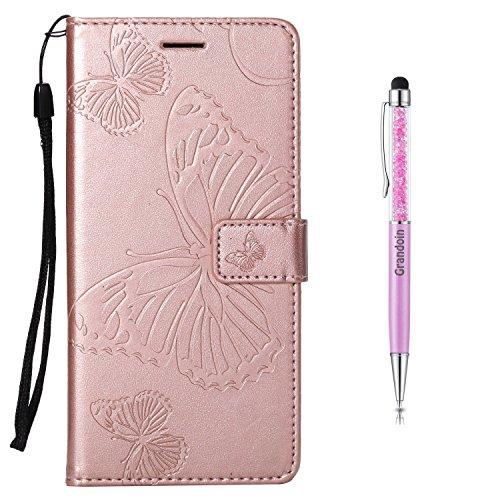 Grandoin Nokia 5 Hülle, Handyhülle im Brieftasche-Stil für Nokia 5 Handytasche PU Leder Flip Cover Schmetterling Muster Design Premium Book Case Schutzhülle Etui Case (Roségold)