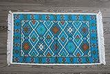 65 x 120 cm mit Fransen,Kelim,Teppich Orient, Läufer,orientalische Zimmer-Dekoration,,kinderzimmer,junge,mädchen,wohnzimmer,schlafzimmer modern deko,orient wand teppiche,tapete Wohnung (türkis blau)