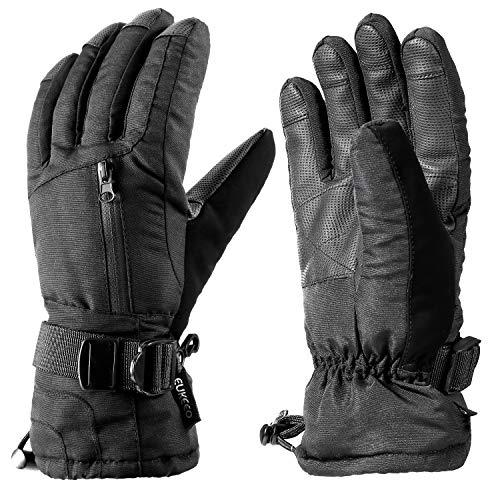 ENKEEO Guantes Esquí Ski Impermeable Anti-Nieve Anti-Viento para Esquiar, Snowboard, Portes Invierno, Negro (XL)