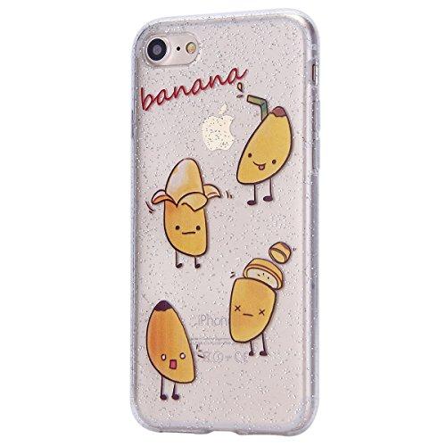 Custodia iPhone 7, Case Cover iPhone 8 in Silicone Glitter TPU, Surakey Bumper iPhone 7 / 8 Cover Morbida Gomma Premium Semi Hybrid Crystal Clear Cassa del Telefono con Disegno Cartoon Divertente Sott Banane