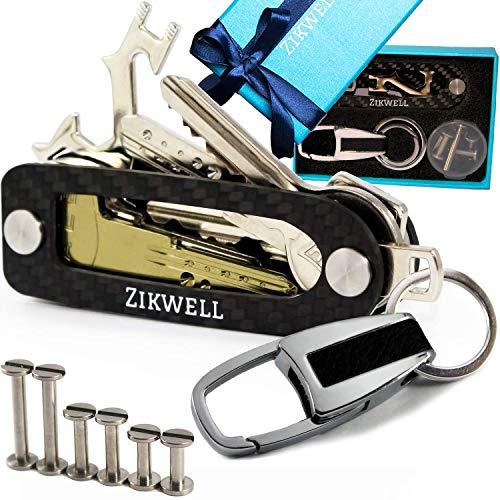 We R Just Cousins Smart Key Holder organizer-Compact Carbon Fiber Key Chain-da unisex in acciaio INOX, viti-moderno design pieghevole-Slim tasca per fino a 18tasti-leggero e resistente