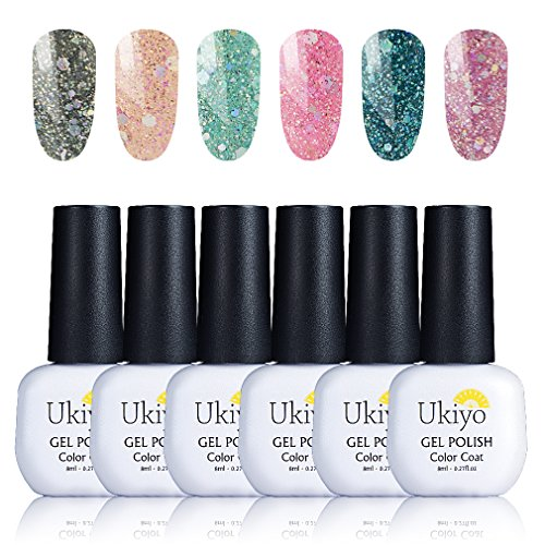 Ukiyo Gel Polish 6UV-LED Soak Off Glitter Nagellack Farben Kollektionen Salon Manicure LACQUERS Geschenk Sets (Harmony Gel-glitter)