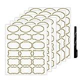 Nardo Visgo Transparente Aufkleber mit goldenen Grenze, abnehmbare wasserdichte transparente Etiketten in verschiedenen Größen für Gläser, Aufbewahrungsbehälter oder Handwerk,93pcs