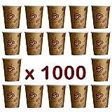 Coffee to go - Lot de 1000 gobelets jetables en carton de haute qualité pour café ou boisson chaude  Gobelets pour café à emporter de 200 ml. Gobelets faits en Allemagne.