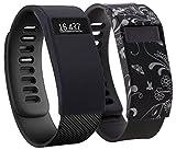 Greatfine Hülle für Fitbit Charge/Fitbit HR Charge Silikon Schutzhülle Case Cover Stoßstange-Abdeckung (Black+Black Flower)