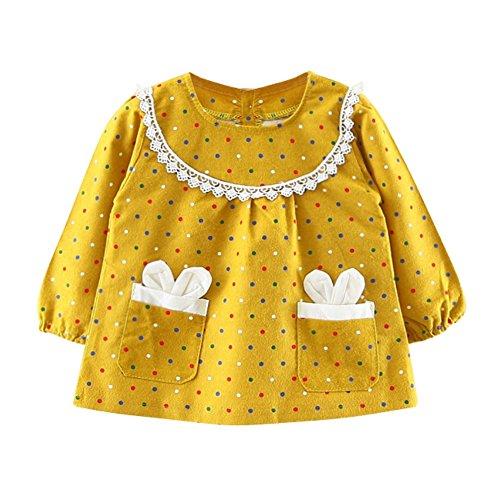 Kleid für Mädchen Baby Langarm Kleider Kleider Punkte gedruckt Kleidung für 0-24 Monate von Bornbayb